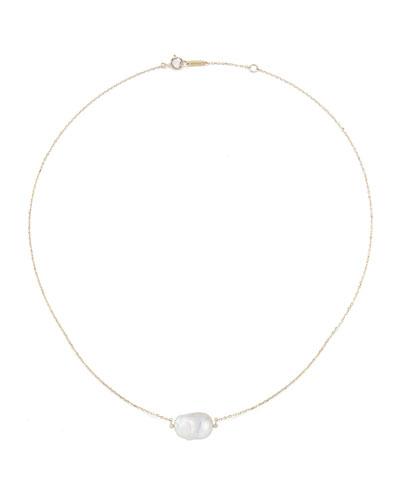 Baroque Pearl & Diamond Bezel Necklace