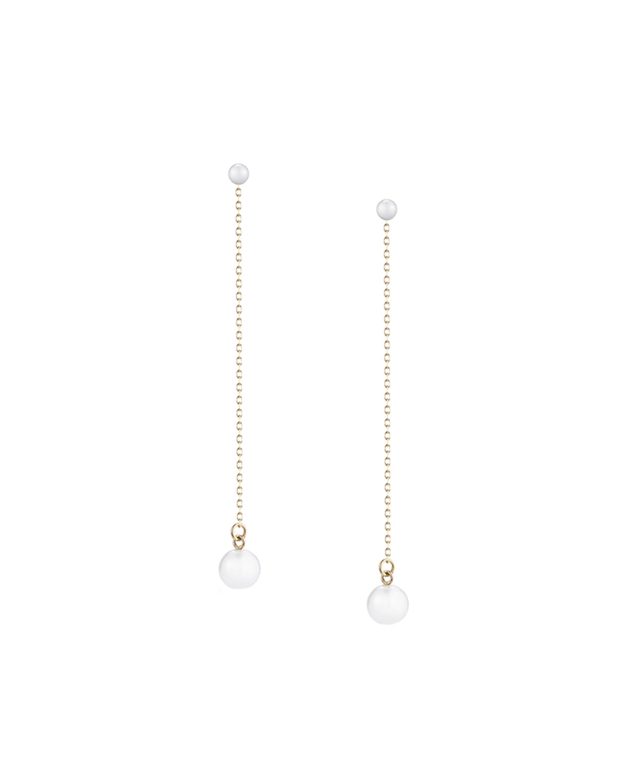 Double Pearl Chain Drop Earrings