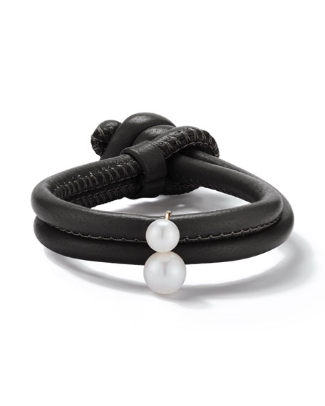 Sea Of Beauty Black Leather Wrap Bracelet With Pearls in Yellow Gold/ White Pearl