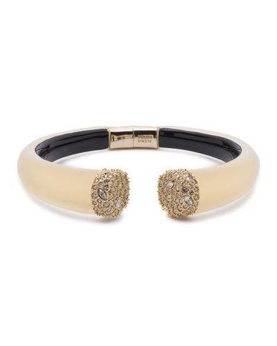 Pavé Crystal Break Hinge Bracelet, Golden