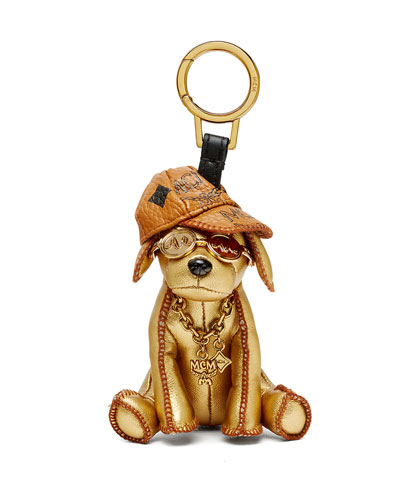 Metallic Golden Dog Handbag Charm