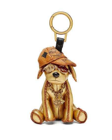 Metallic Golden Dog Handbag Charm