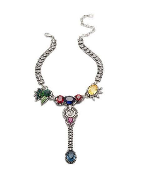 Dannijo Diana Multicolor Crystal Statement Necklace
