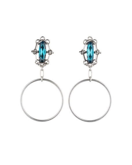 Dannijo Adelaide Blue Zircon Hoop Earrings