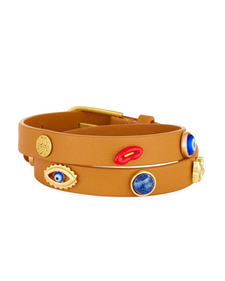 Tory Burch Crazy Charms Leather Double-Wrap Bracelet
