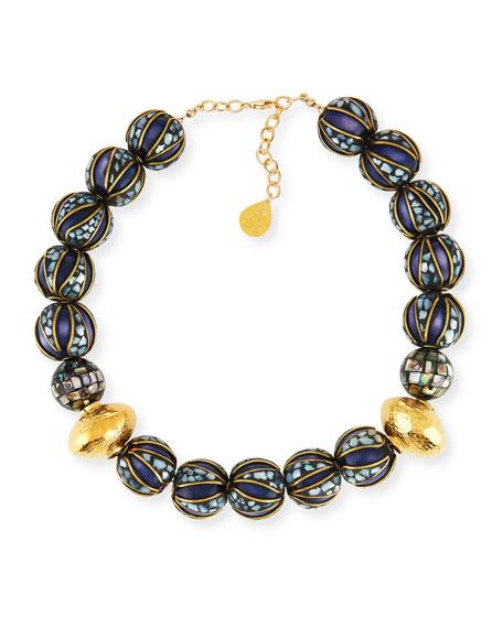 Lapis & Abalone Beaded Necklace