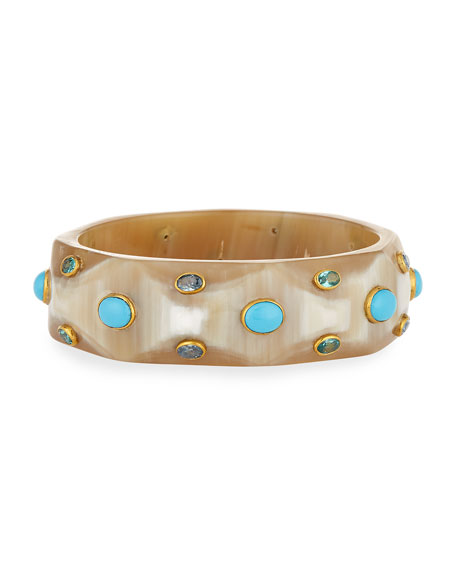 Ashley Pittman Tabaka Light Horn Bangle with Blue