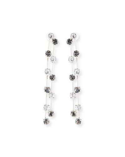 Black & White Two-Row Crystal Earrings