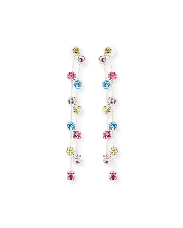 Kenneth Jay Lane Two-Row Crystal Drop Earrings, Multi