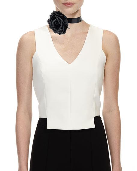 Patent Leather Rose Choker Necklace