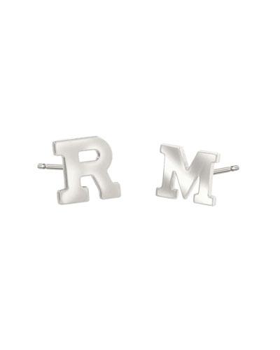Regin Personalized Initial Stud Earrings in 14K White Gold