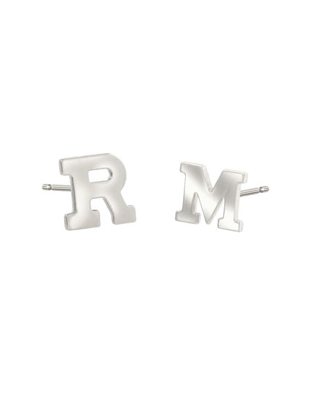 Regin Personalized Initial Stud Earrings in 14K White Gold