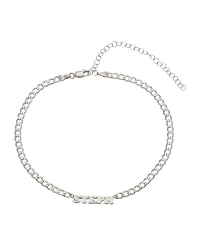 Personalized Cuban Link Choker Necklace with Name Plate in 14K White Gold