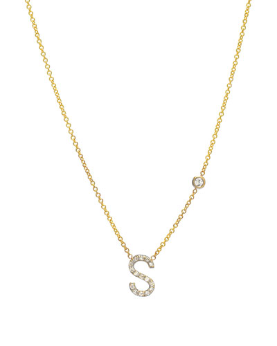 Personalized Diamond Initial & Bezel Necklace in 14K Yellow Gold