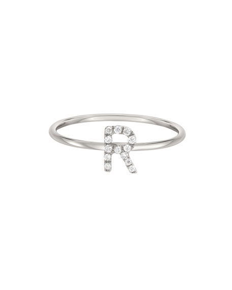 32f2c0bc20 Quick Look. Zoe Lev Jewelry · Personalized Diamond Initial Ring in 14K  White Gold