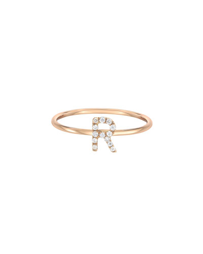 Personalized Diamond Initial Ring in 14K Yellow Gold