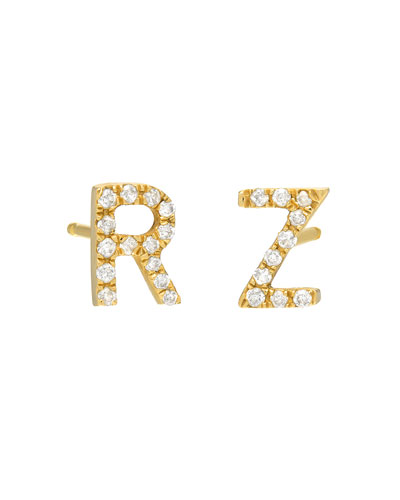Personalized Diamond Initial Stud Earrings in 14K Yellow Gold