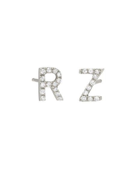 Personalized Diamond Initial Stud Earrings in 14K White Gold