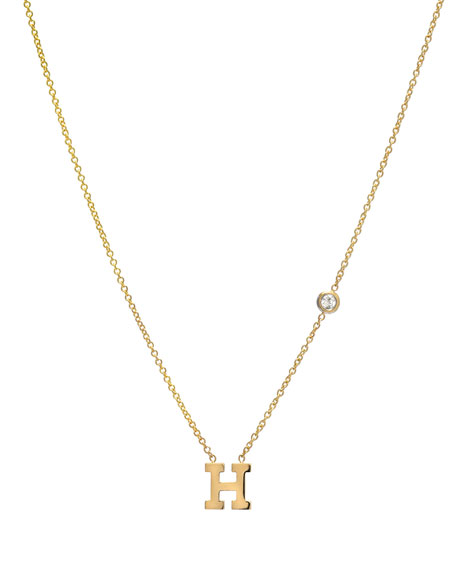 Personalized Initial & Diamond Bezel Necklace in 14K Yellow Gold
