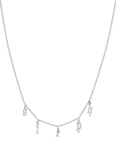 Personalized Gothic Initial Charm Necklace in 14K White Gold