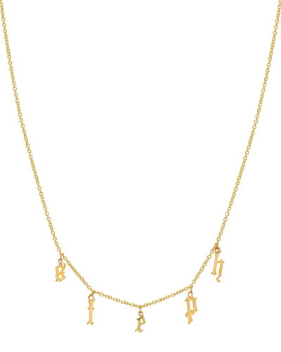 Personalized Gothic Initial Charm Necklace in 14K Yellow Gold