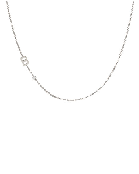 Side Chic Personalized Asymmetric Initial & Diamond Bezel Necklace in 14K White Gold