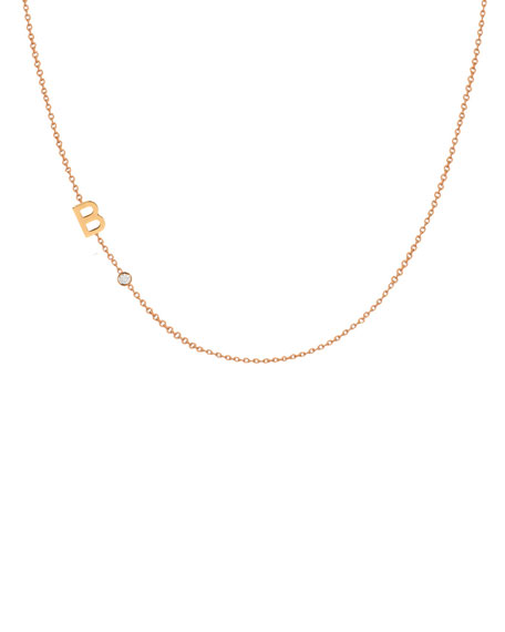 Side Chic Personalized Asymmetric Initial & Diamond Bezel Necklace in 14K Yellow Gold