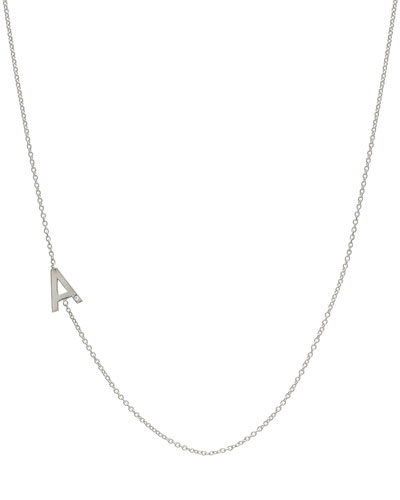 Side Chic Personalized Asymmetric Initial Necklace with Tiny Diamond Detail in 14K White Gold