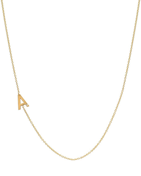Side Chic Personalized Asymmetric Initial Necklace with Tiny Diamond Detail in 14K Yellow Gold