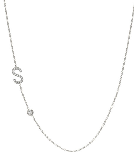 Personalized Asymmetric Diamond Initial & Bezel Necklace in 14K White Gold
