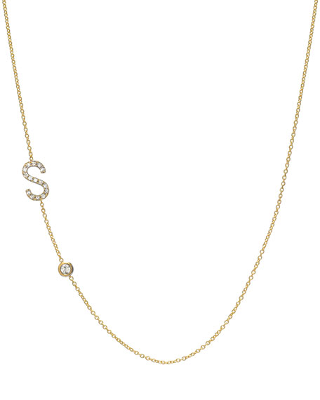 Personalized Asymmetric Diamond Initial & Bezel Necklace in 14K Yellow Gold