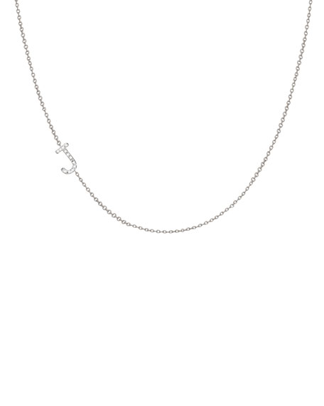 Personalized Asymmetric Diamond Initial Necklace in 14K White Gold