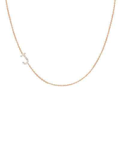 Personalized Asymmetric Diamond Initial Necklace in 14K Yellow Gold