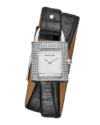 Isadore Stainless Steel Padlock Watch with Black Leather Wrap Strap
