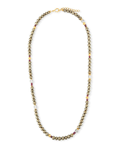 Pyrite Beaded Necklace, 36