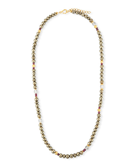 Pyrite Beaded Necklace, 36""