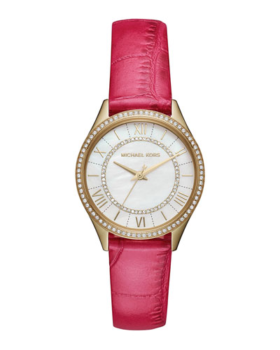 Mini Lauryn Watch with Pink Leather Strap