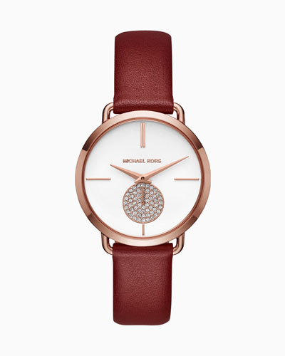 Portia Watch with Red Leather Strap