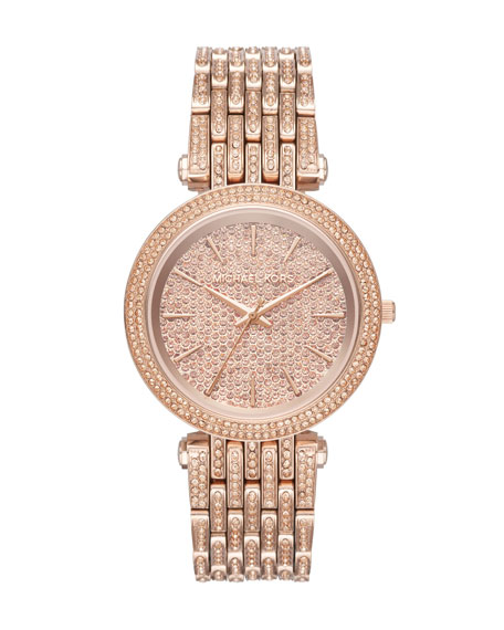 Michael Kors Darci Rose-Golden Bracelet Watch with Crystals