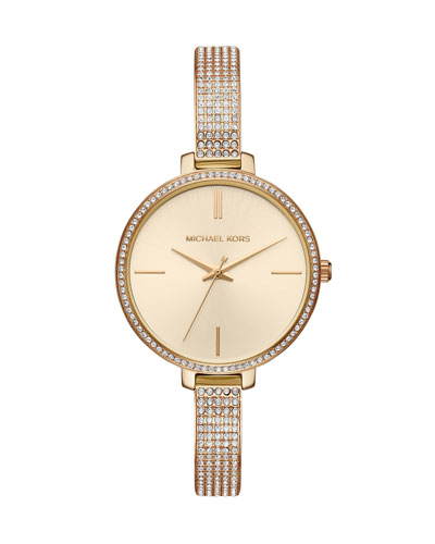 Jaryn Yellow-Golden Crystal Bangle Watch