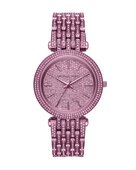 Darci Purple IP Bracelet Watch with Crystals