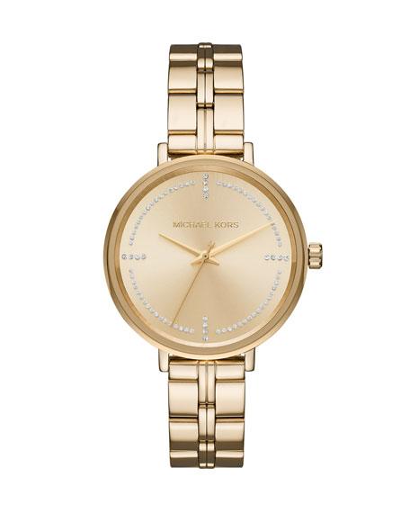 Bridgette Yellow-Golden Bracelet Watch with Crystals