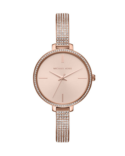 Jaryn Rose-Golden Crystal Bangle Watch