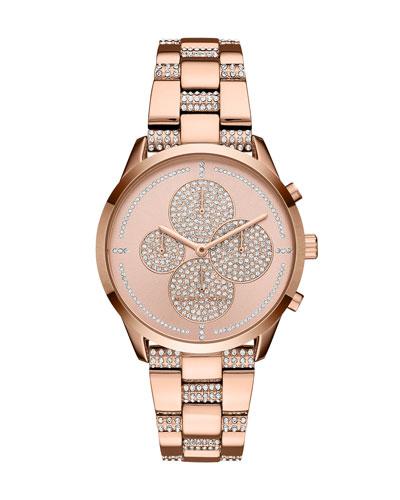 Slater Rose-Golden Crystal Chronograph Watch