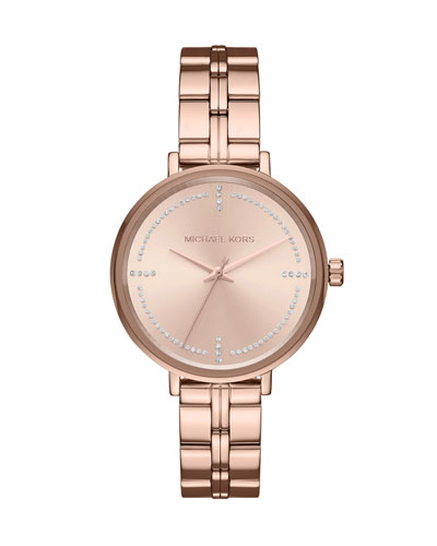 Bridgette Rose-Golden Bracelet Watch with Crystals