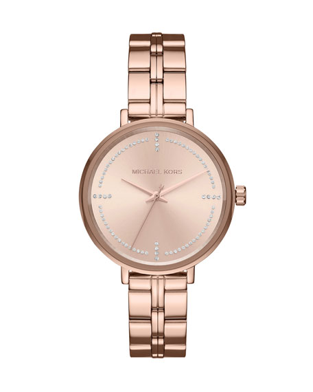 Michael Kors Bridgette Rose-Golden Bracelet Watch with Crystals