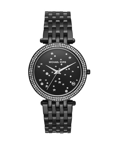 Darci Black IP Star-Studded Bracelet Watch