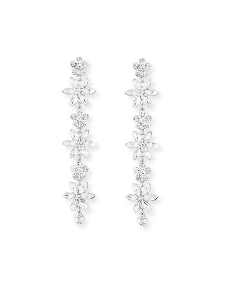 Kenneth Jay Lane Marquis Crystal Flower Drop Earrings