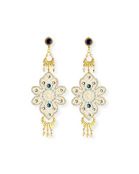Blue Crystal Statement Drop Earrings
