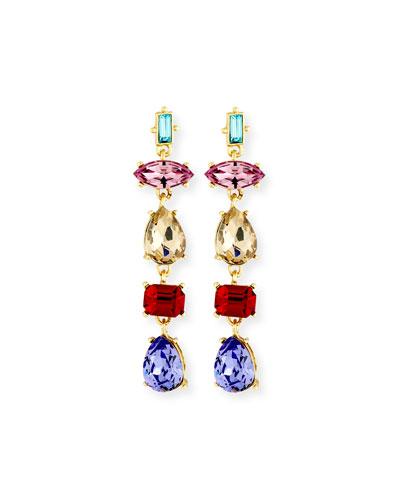 Mixed-Shape Crystal Drop Earrings